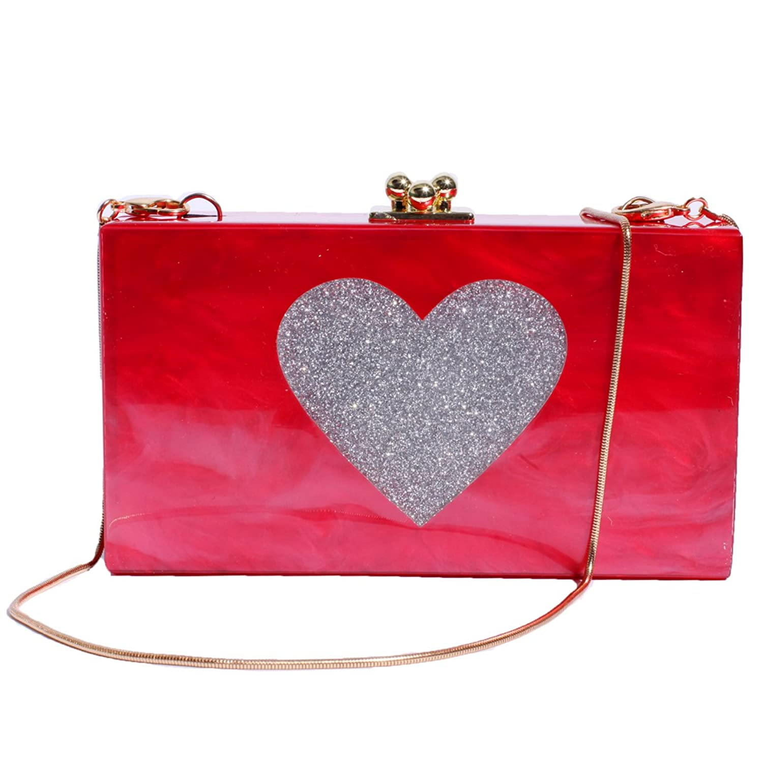 Zarapack Women's Glitter Heart Hard Case Chain Shoulder Bag Clutch Love Gift Purse