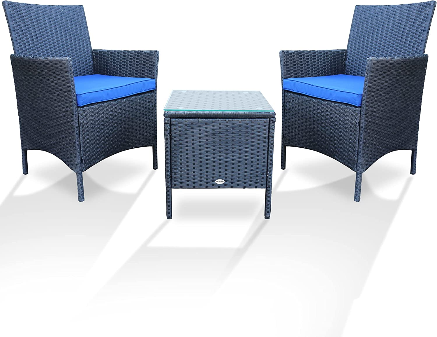 PAOLFOX Patio Conversation Furniture Sets 3pcs PE Rattan Wicker Chairs w/Table Outdoor Garden Sofa Washable Cushion & Tempered Glass Table top for Garden Poolside Balcony (Black Sets + Blue Cushion)