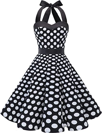 TALLA XXL. Dresstells® Halter 50s Rockabilly Polka Dots Audrey Dress Retro Cocktail Dress Black White Dot XXL