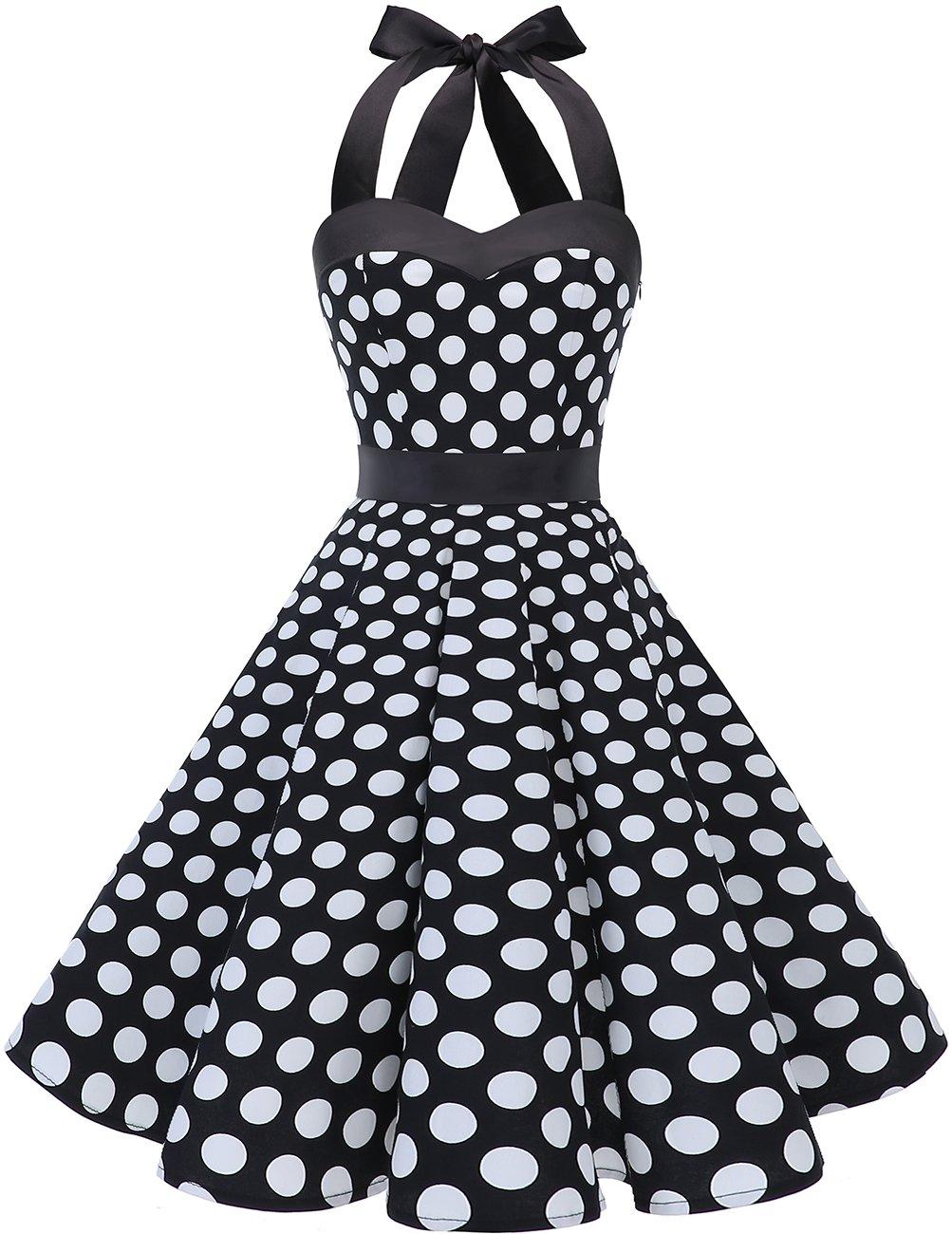 DRESSTELLS 50s Retro Halter Rockabilly Polka Dots Audrey Dress Cocktail Dress Black White Dot 2XL by DRESSTELLS