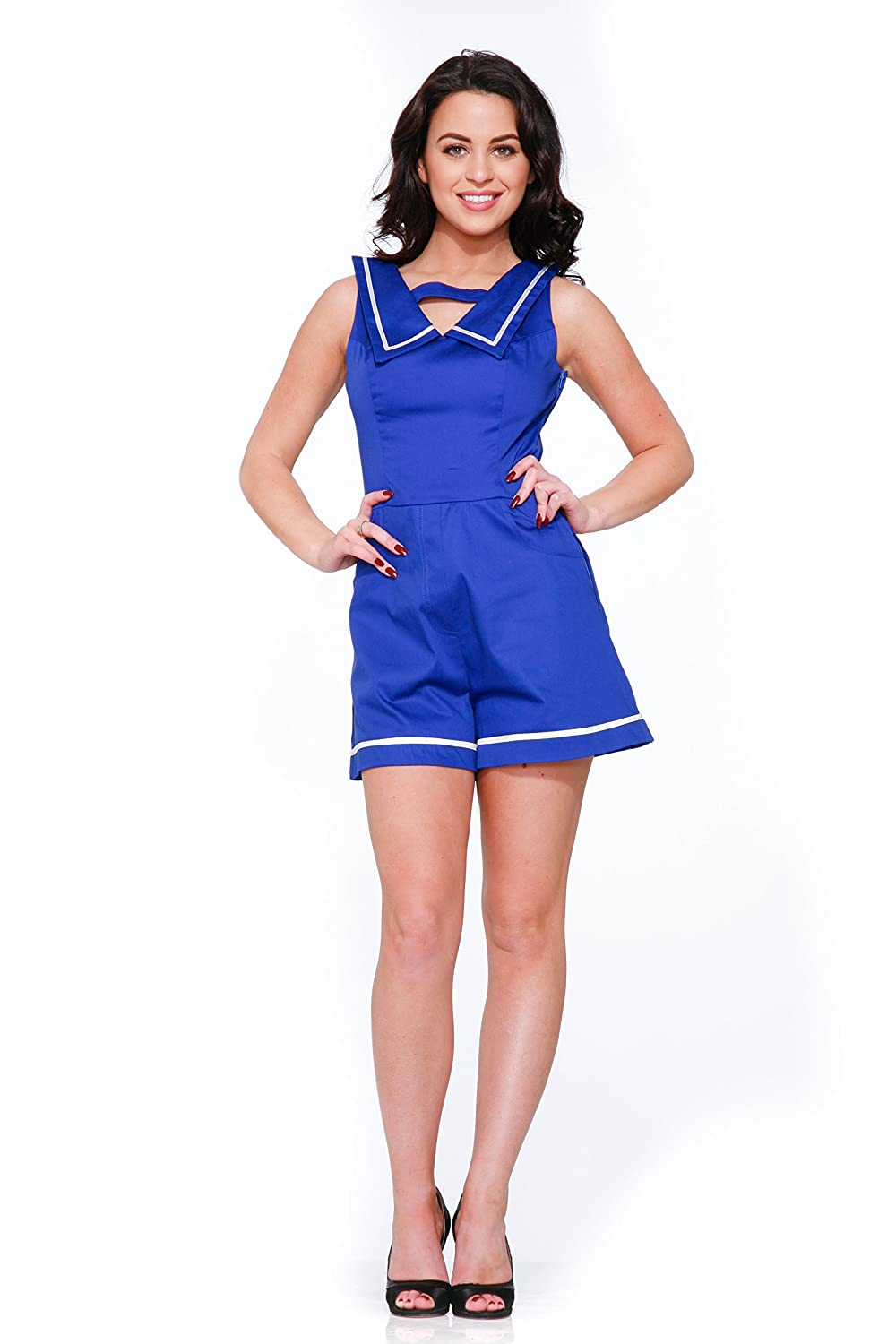 Vintage Rompers, Playsuits | Retro, Pin Up, Rockabilly Playsuits Hearts & Roses Sailor Romper in Blue (Shipped from US and US Sizes) $48.88 AT vintagedancer.com