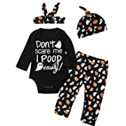 4Pcs Halloween Outfit Set Baby Boys Girls Funny Romper (0-3 Months, black01)
