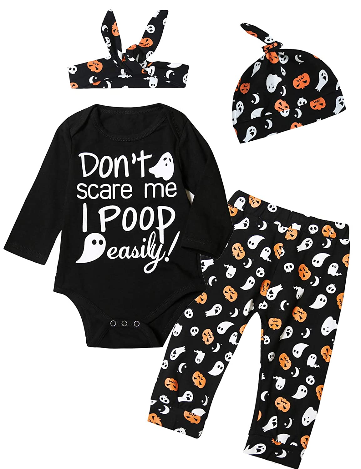 TrulyBee 4PCS Baby Girls Halloween Outfits Set Pumpkin Ghost Costume Romper Pants and Hat with Headband