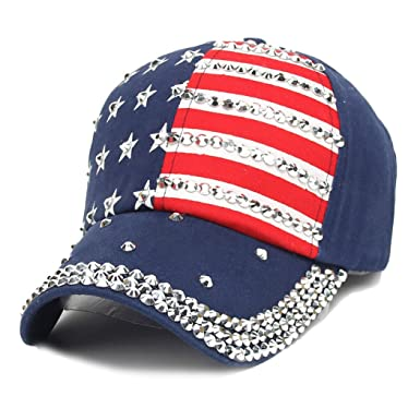 adjustable women men flag rhinestone studded denim baseball cap camo hat with american camouflage angels