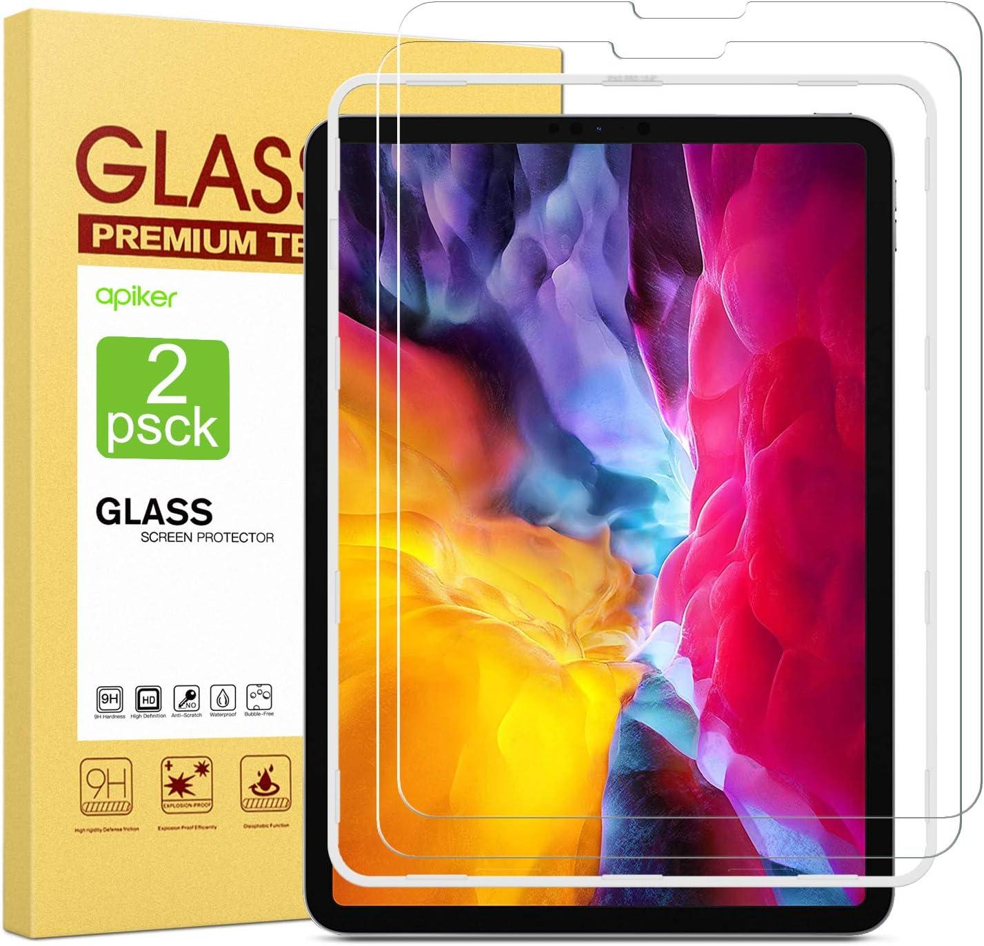 apiker [2-Unidades Protector de Pantalla Compatible con iPad Pro 11 Pulgadas 2020/2018, Cristal Templado para iPad Pro 11 Pulgadas 2020/2018 [9H Dureza] [Alta Definicion 0.3mm] [2.5D Round Edge]