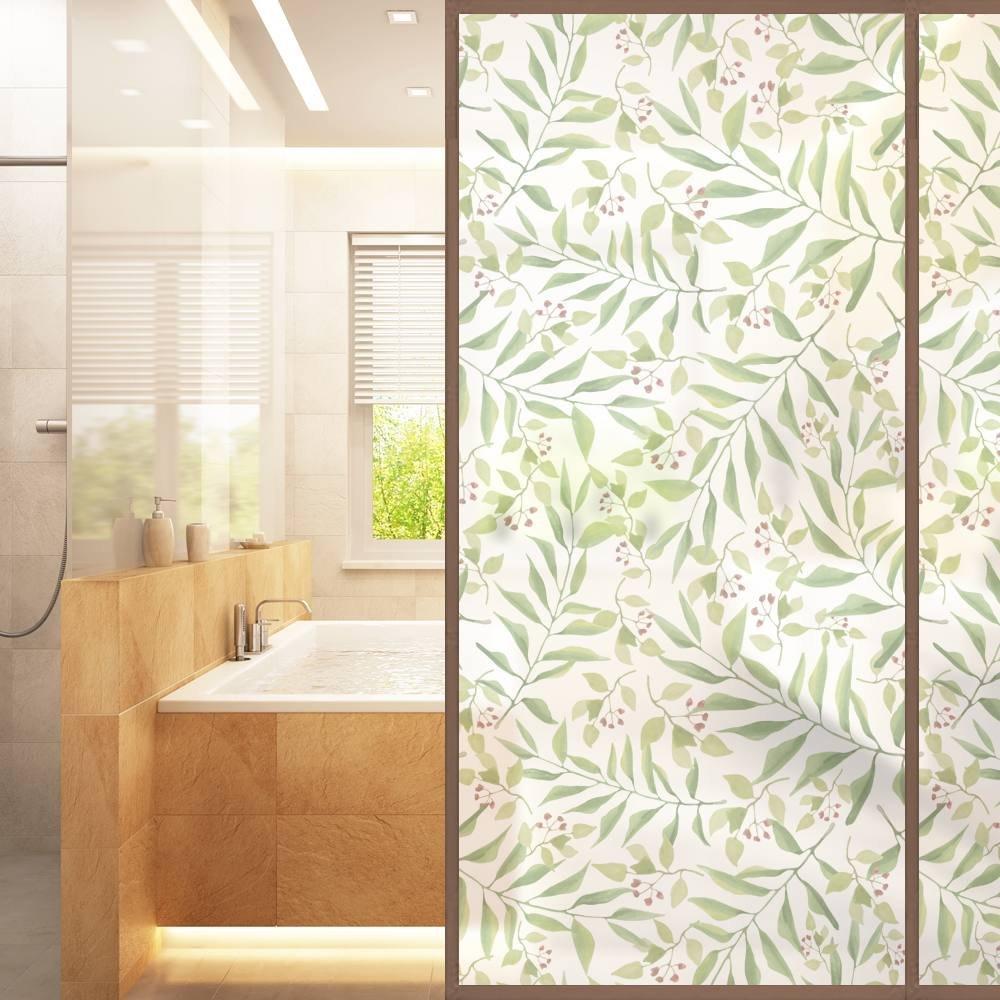 VANCORE No-Glue Static Illuminative Decorative Privacy Glass Window Film Sticker Anti-UV 45cmx200cm, THICK Natural Leaves Pattern for Home Kitchen Office