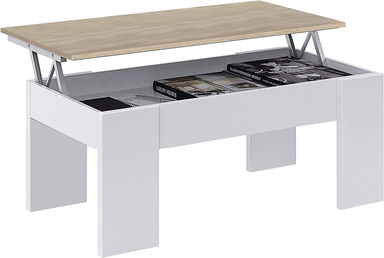 Habitdesign 0F1640A - Mesa de Centro elevable, mesita de Comedor, Medidas 43 x 1,02 x 50 cm de Fondo. (Blanco Artik y Roble Canadian)