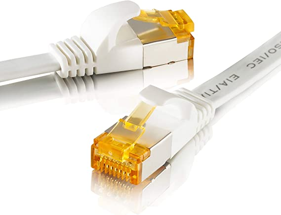 SEBSON Cable de Red Ethernet 15m Cat 7 Plano, LAN Patch Cable, 10Gbps, U-FTP apantallado, Conector RJ45 para Router, Ordenador, Módem, TV: Amazon.es: Electrónica