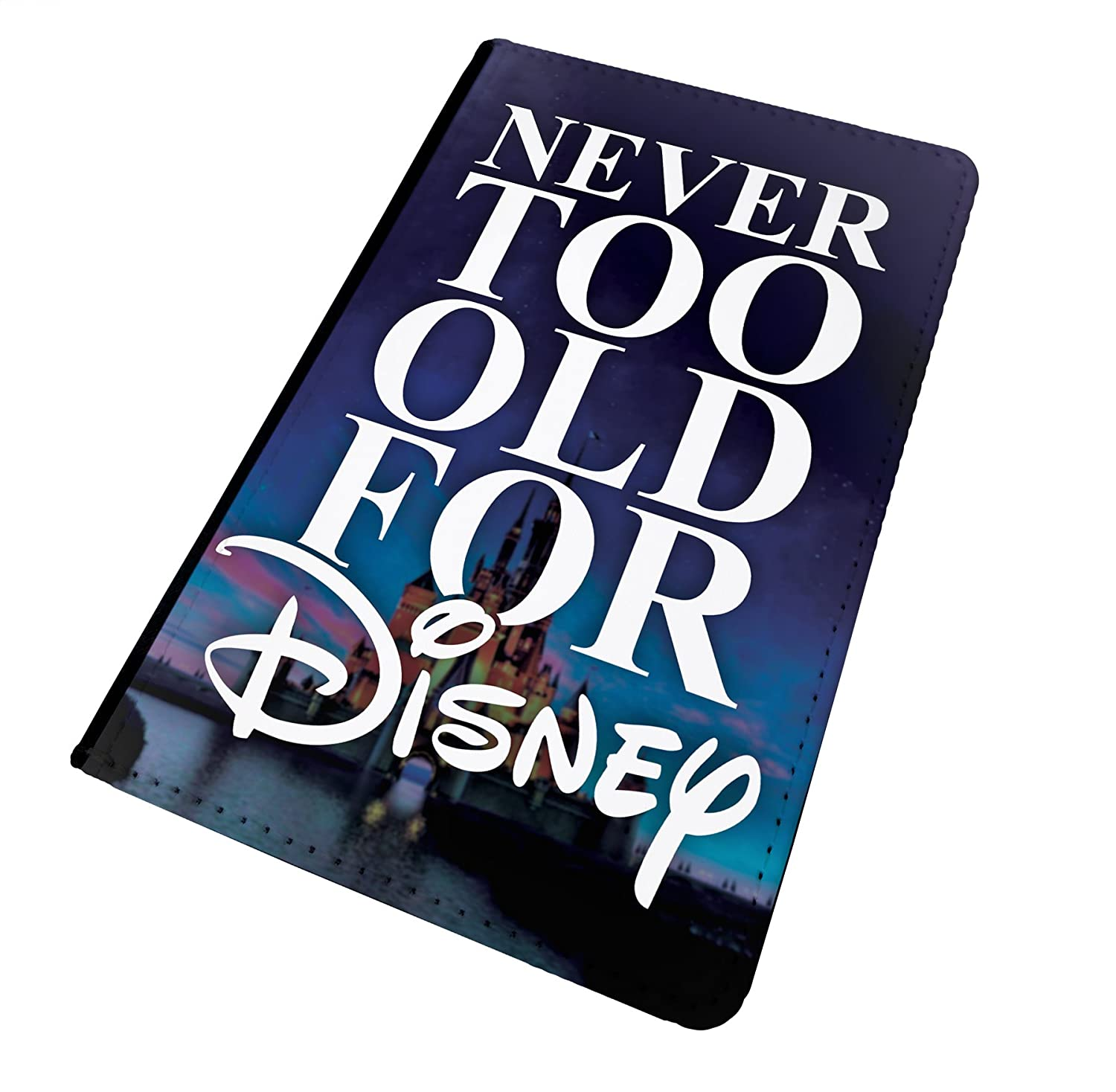 WTF | Never Too Old for Disney - Castle | Printed Art Faux Leather Passport Cover/Luggage Tag (Holder/Luggage Tag Combo)