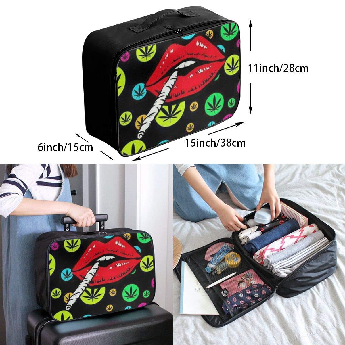 Colorful Marijuana Weed Leaf And Smoking Lip Travel Carry-on Luggage Weekender Bag Overnight Tote Flight Duffel In Trolley Handle
