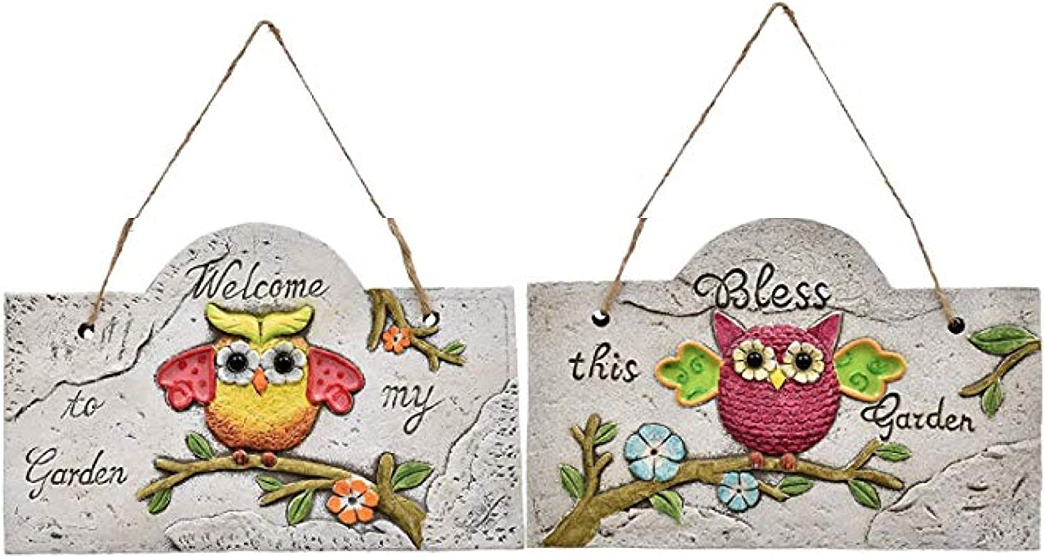 Greenbriar International Hanging Wall Plaques Signs with Garden Theme Owls Rustic Concrete Set of 2
