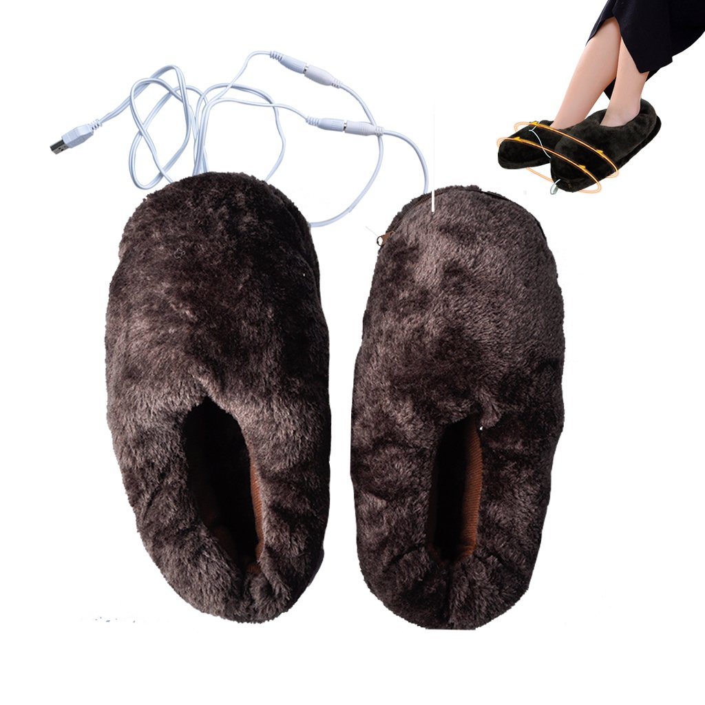 Lifemall Unisex Furry Heated Warm Slippers with USB port, Electric Heating Cotton Shoes (Brown)