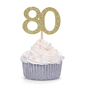 24 PCS Gold Glitter Number 80 Cupcake Toppers 80th Birthday and Anniversary Celebrating Party Decors