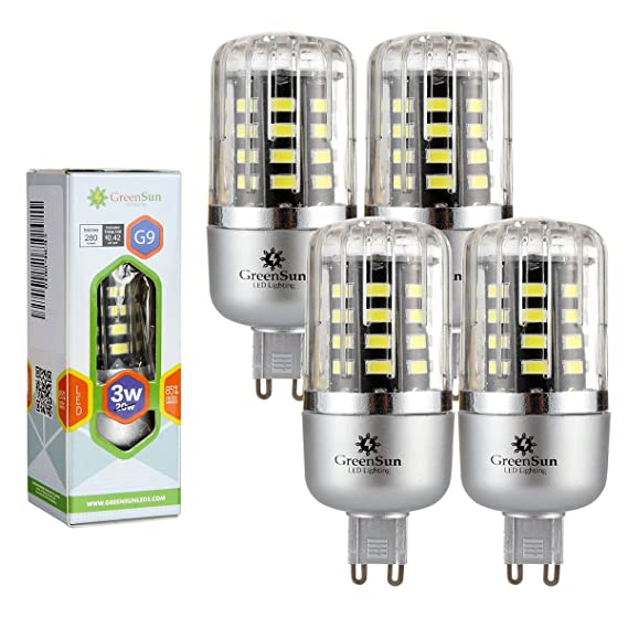 GreenSun - Lote de bombillas LED de bajo consumo, SMD 5736, corriente alterna 85-265 V, 4 unidades, color blanco, 3W Kühlesweiß, G9, 3.00 wattsW: Amazon.es: ...