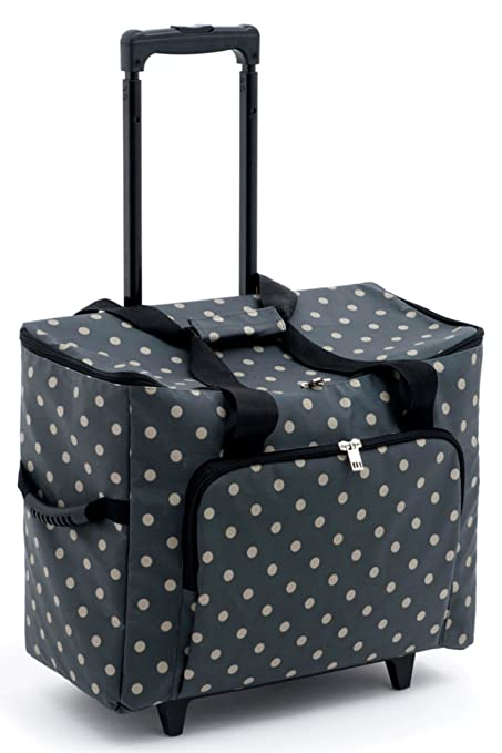 ee4a6a5cab Hobbygift Sewing Machine Trolley Bag Matt PVC - Charcoal Polka Dot ...