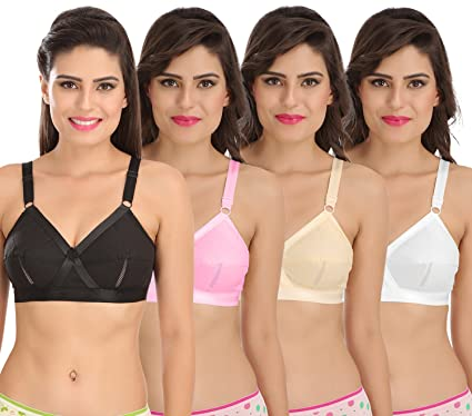 fb0809aff6 Sona Perfecto Women Plus Size Cotton Bra- Full Coverage Non Padded Pack of  4 Size
