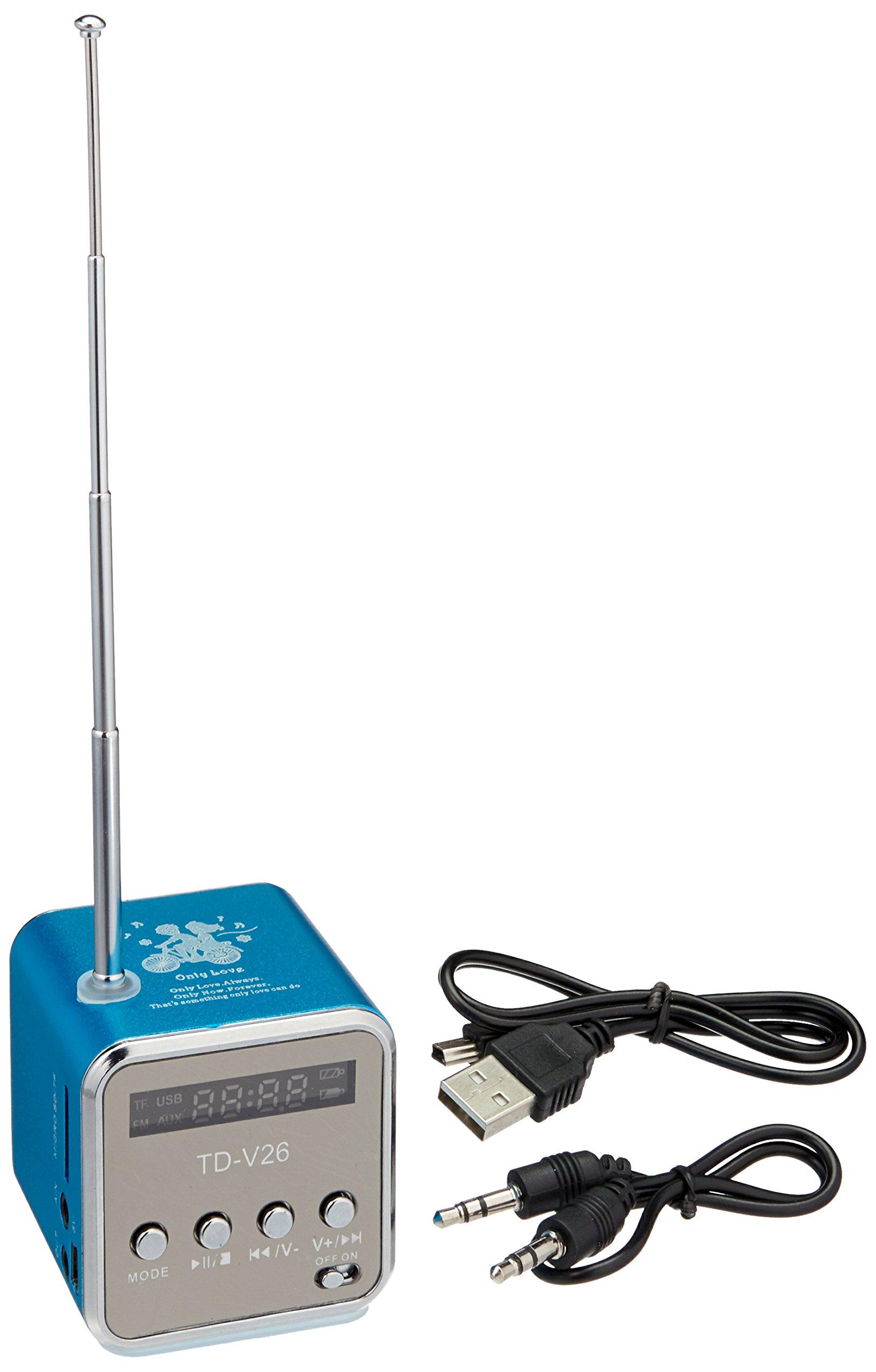 Mini Digital Portable Music MP3 Player Micro SD/TF USB Disk Speaker FM Radio TD-V26 - Blue by TD (Image #1)