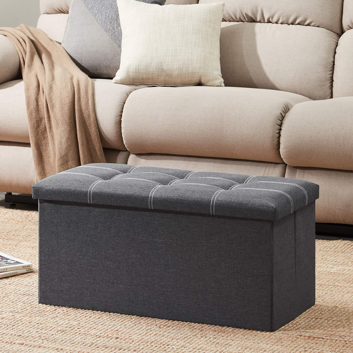 YOUDENOVA 30 inches Storage Ottoman Bench, Foldable Footrest Shoe Bench with 80L Storage Space, End of Bed Storage Seat, Support 350lbs, Linen Fabric Grey by YOUDENOVA