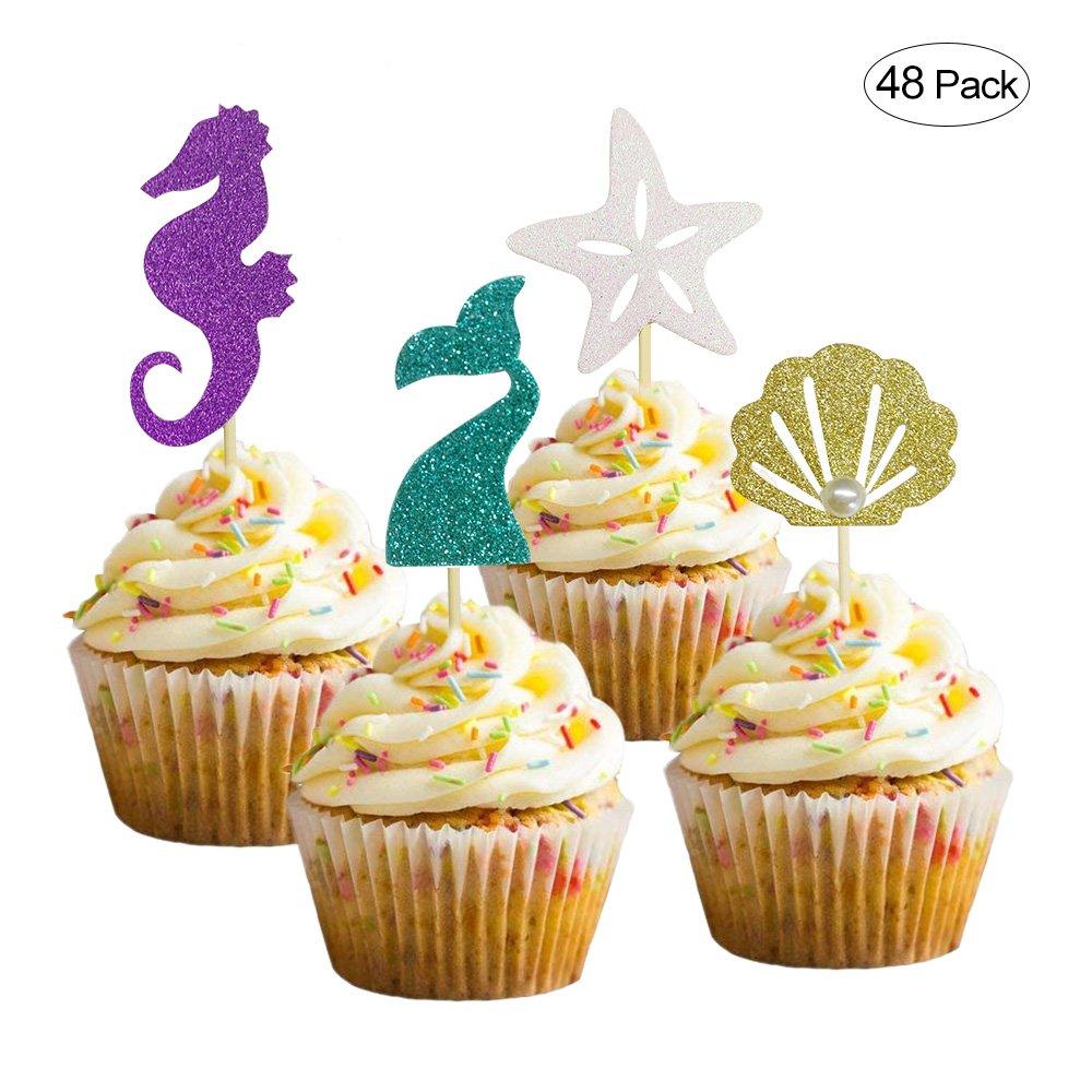 Amazon.com: Joyclub Mermaid Themed Cake Decoration Glitter Sea Horse ...