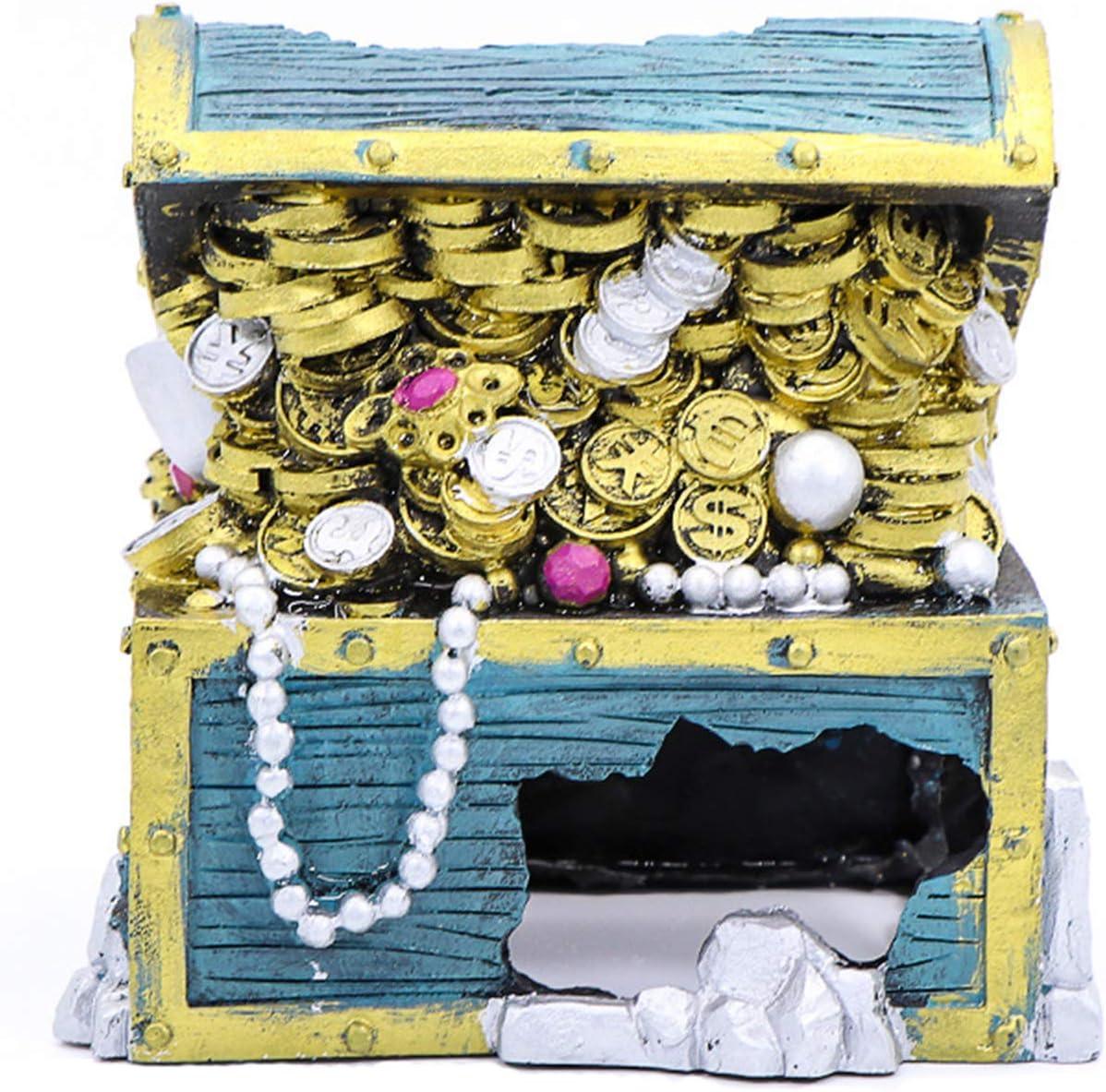 Gold Coin Treasure Chest Fish Tank Ornament Resin Aquarium Accessories for Small Shrimp Turtle Fish Tank