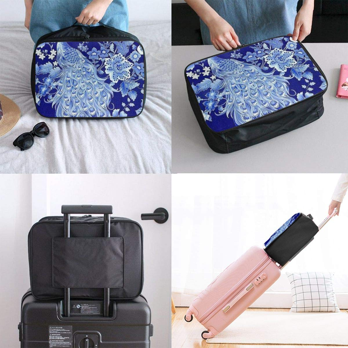 Chinoiserie Blue And White Peacock Travel Lightweight Waterproof Folding Storage Portable Luggage Duffle Tote Bag Large Capacity In Trolley Handle Bags 6x11x15 Inch