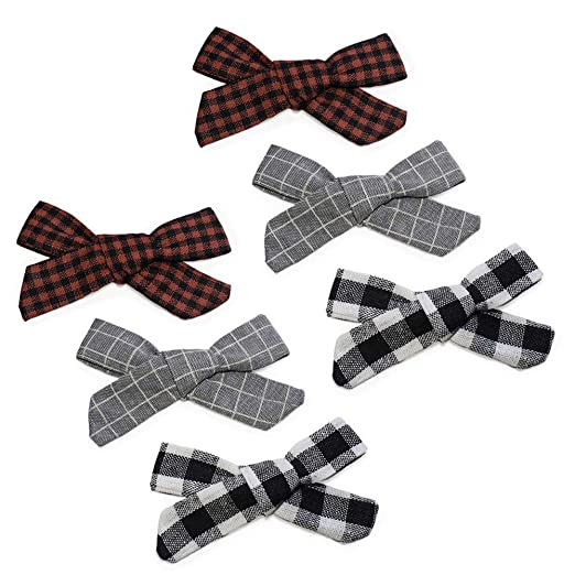 9dde3feba174 Boutique handtied hair bow on alligator clip – 6 pack pigtail set Handmade  Fabric bows for