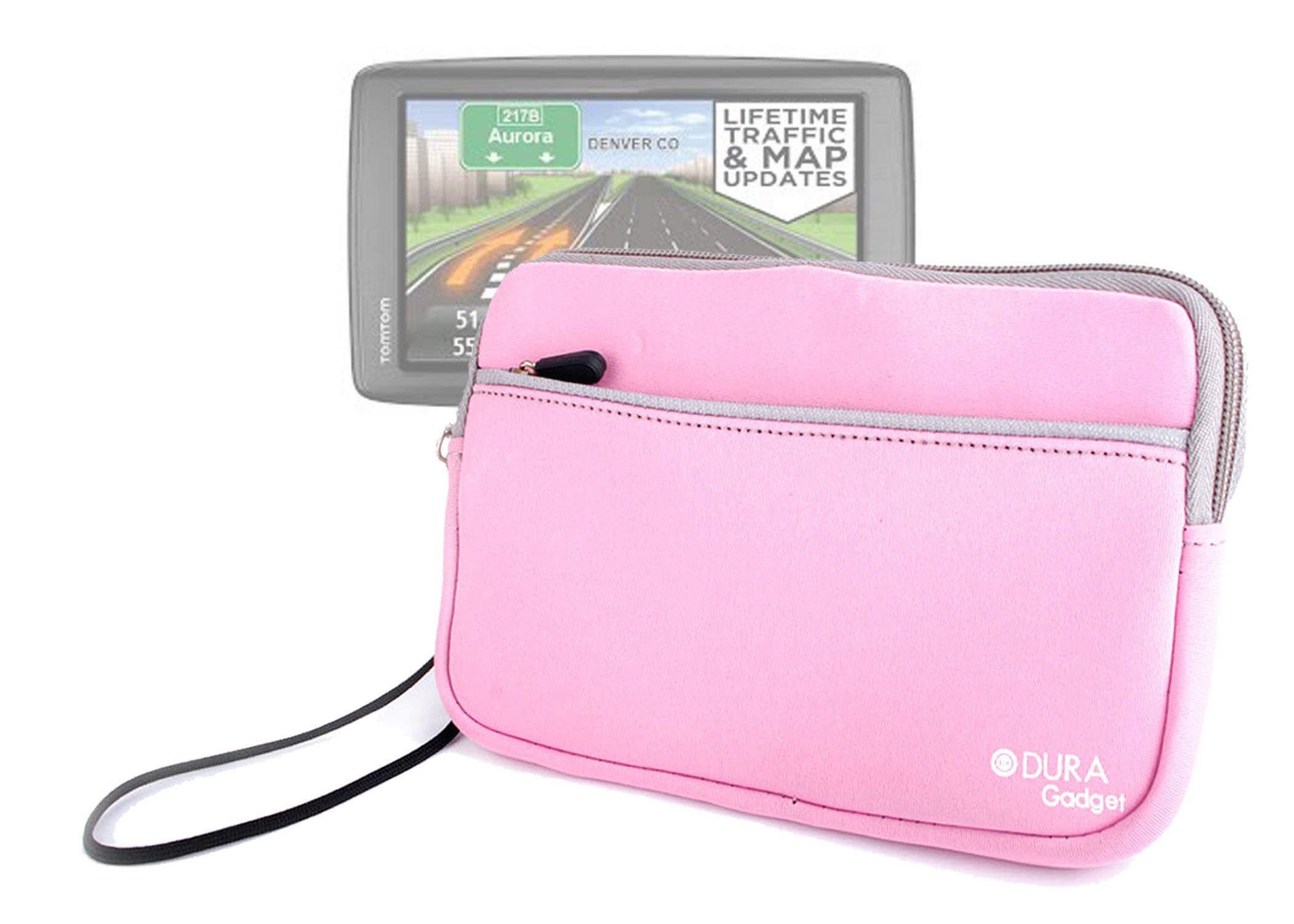 DURAGADGET Pink ''Travel'' Water Repellent Neoprene Sleeve With Front Storage Pocket For TomTom VIA 1605TM 6-Inch GPS Navigator with Lifetime Traffic & Maps & TomTom VIA 1605M GPS Navigator with Lifetime Maps