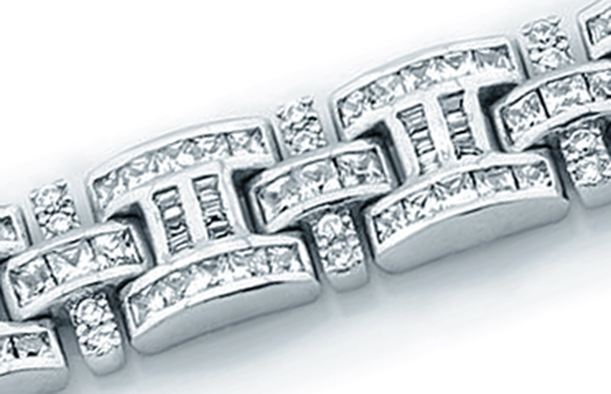 Men's Sterling Silver .925 Bracelet with 276 Channel set Fancy Princess Cubic Zirconia (CZ) Stones, Box Lock, Platinum Plated. Sizes available 8''9'' by Sterling Manufacturers (Image #5)