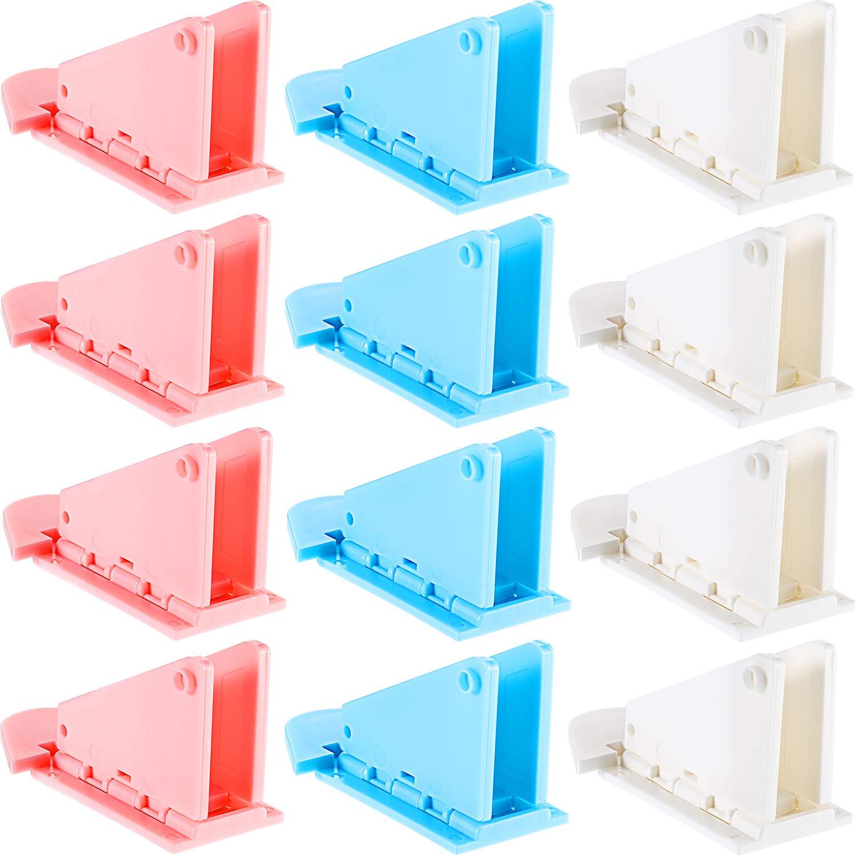 Zhehao 12 Pieces Sliding Door Lock Baby Pets Safety Locks Adhesive Sliding Door Window Lock for Patio, Closet, Windows, 3 Colors