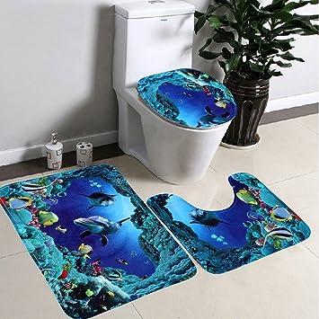 3pcs/Set Badezimmer 3D Blauer See Motiv Sockel Teppich + Deckel WC ...