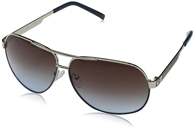 Guess Guf115Si, Gafas de Sol para Hombre, Plateado, 65
