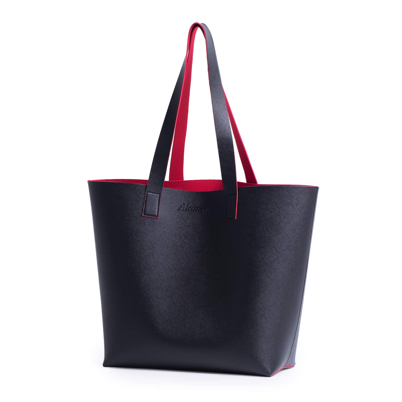 ca6afa38f37c Alameda Women Tote Bag Faux Leather Handbags Casual Ladies Shoulder Bags  for Shopping, Black