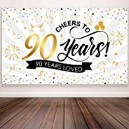 90th Anniversary Birthday Party Decorations, Giant Black and Gold Sign 90th Birthday Party Banner Photo Booth 90th Anniversar
