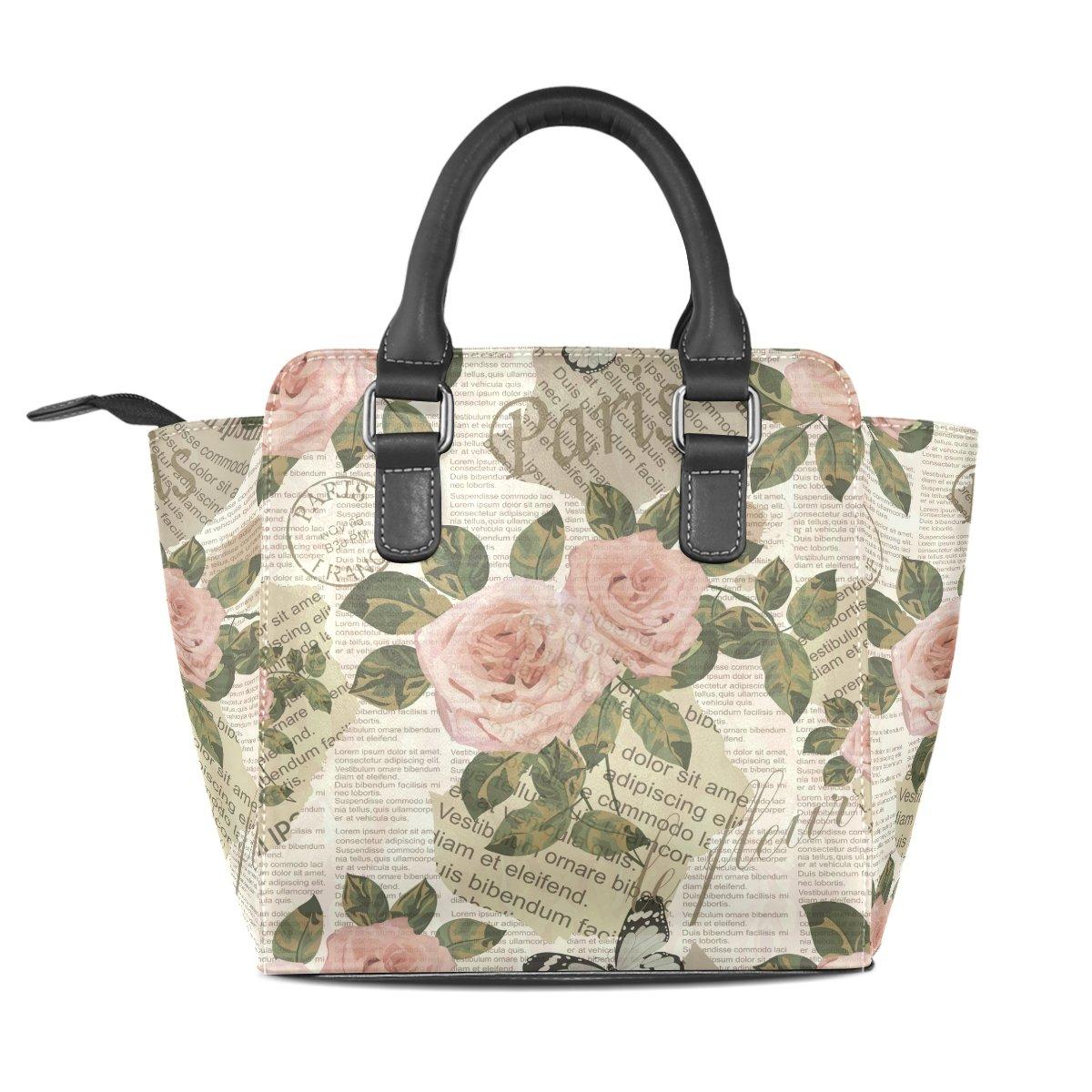 Womens Top Handle Satchel Handbag Paris Travel Vintage Newspaper Roses Ladies PU Leather Shoulder Bag Crossbody Bag