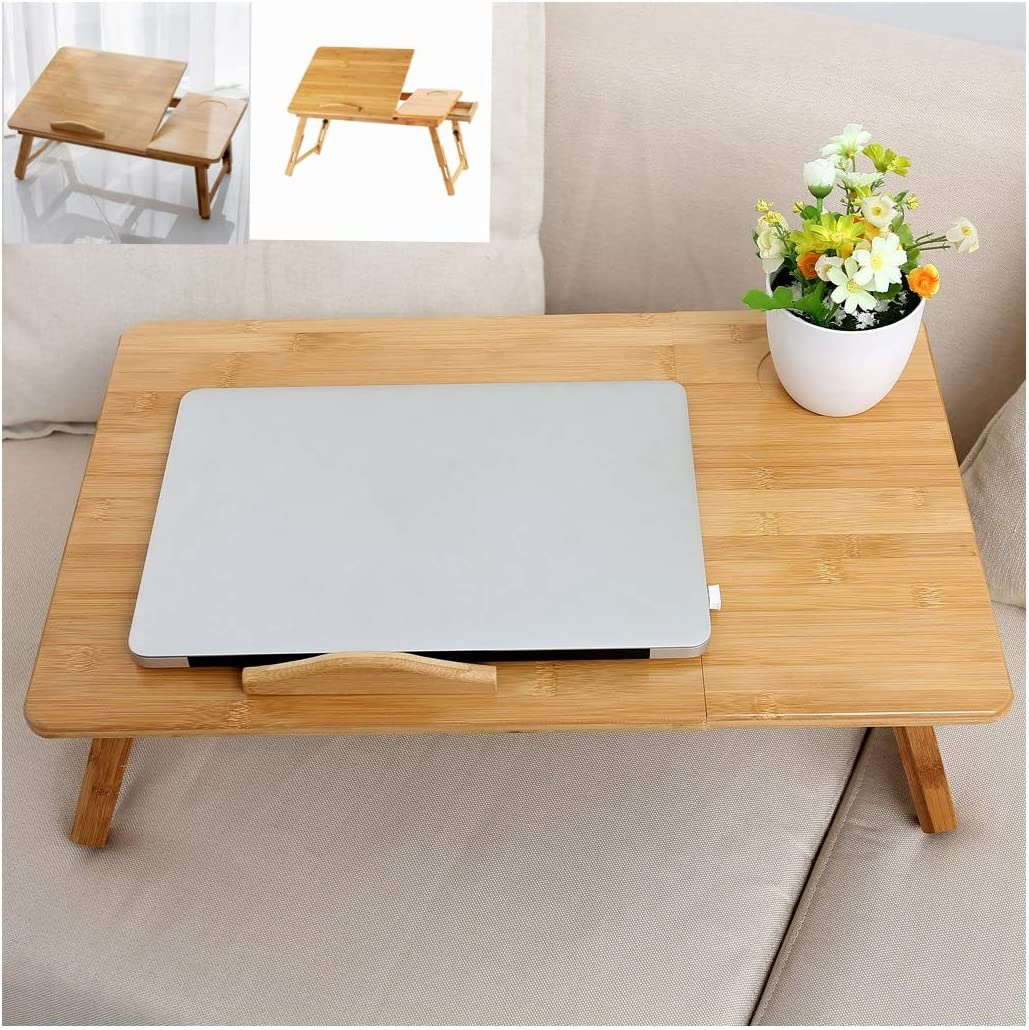 Erwazi Bed Tray Yellow Breakfast Table Tilting Top with Storage Drawer for Surfing Reading Writing Eating Foldable Bamboo Bed Desk Table Laptop Desk Multi Function Lapdesk Adjustable Bed Tray