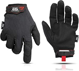 Glove Station The Essential Series Tactical Black Covert Gloves For Mechanic Utility Work - Improved Dexterity, Lightweight & Breathable Mesh, Large Size, 1 Pair