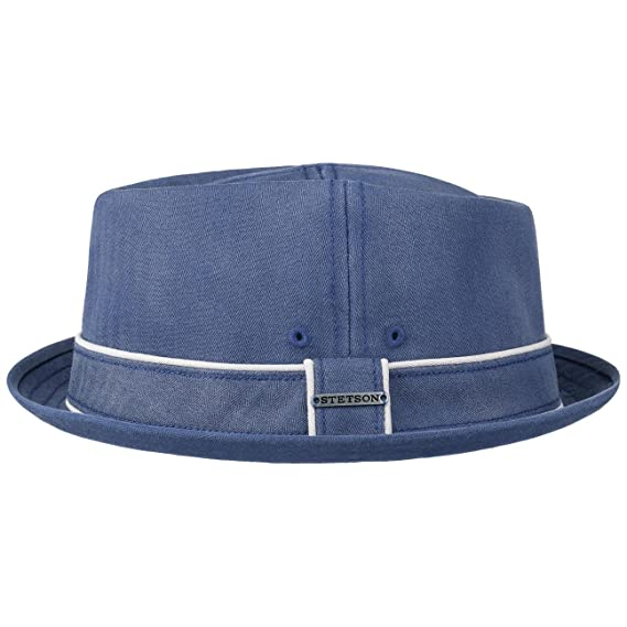 38cb2acb933a23 Stetson Norwood Diamond Pork Pie Hat Cotton Cloth (M (56-57 cm) -  Blue-Beige): Amazon.co.uk: Clothing