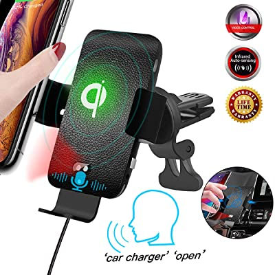 Air Vent Wireless Car Charger Mount, 10W QI Fast Charger Voice Activated & Infrared Sensor Vent Phone Holder, Leather Texture Car Charger for iPhone 11 Pro Max/XS/XR/X, for Samsung Note 10 Plus/S10e: Home Audio & Theater