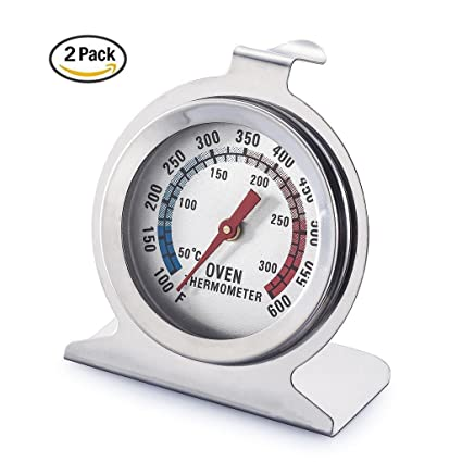 Winco Oven Thermometer Stainless Steel Digital Oven Monitoring 100 to 600 Degrees F Temperature Range,