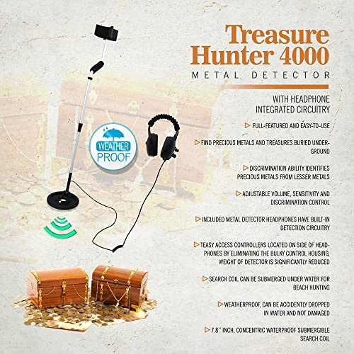 Pyle PHMD4 Treasure Hunter 4000 Weatherproof Pro Metal Detector System