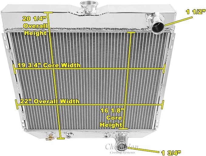 """1966-1970 Ford Falcon Aluminum 2 Row 1/"""" Tubes American Eagle Radiator /& 16/"""" Fan"""