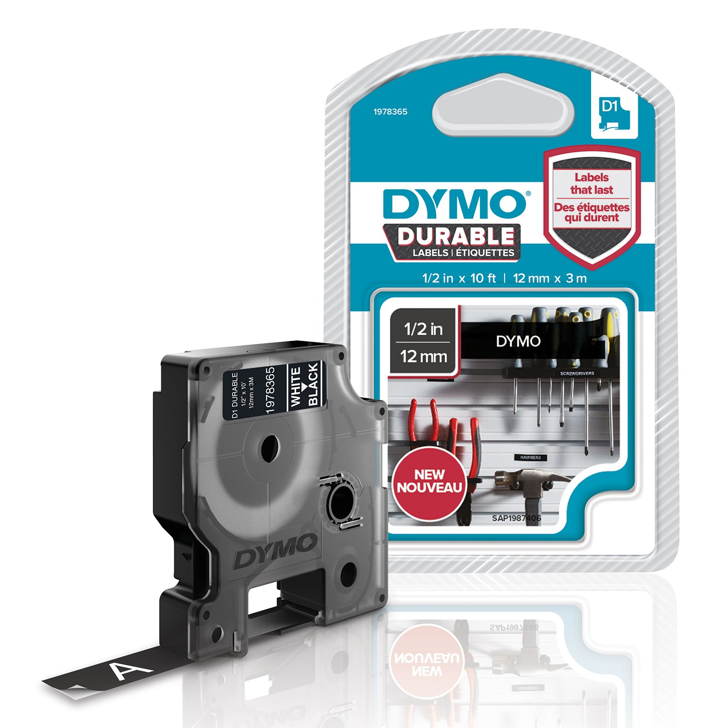 DYMO D1 Durable Labeling Tape for LabelManager Label Makers, White Print on Black Tape, 1/2'' W x 10' L, 1 Cartridge (1978365)