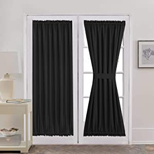 Aquazolax Sliding Glass Door Curtain Panels Functional Thermal Insulated Blackout Curtains Drapes 54x72 Inch Solid Kitchen Door Window Panel Coverings - 2 Panels, Black