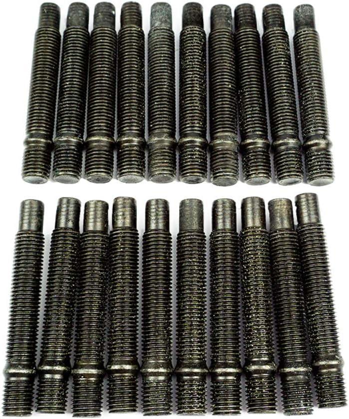 SCC Fahrzeugtechnik 20 x Doppelgewindebolzen M12 x 1,25 90mm schwarz /Stehbolzen f/ür Lug Nuts