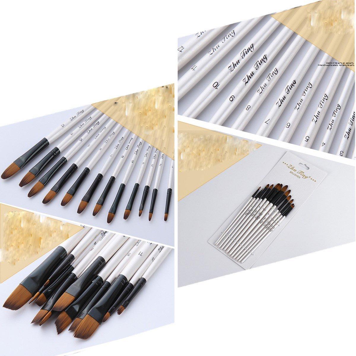 Tutoy 24 Pezzi Artista Nylon Capelli Dipingere Pennello Arte Acquerello Acrilico Pittura A Olio Forniture