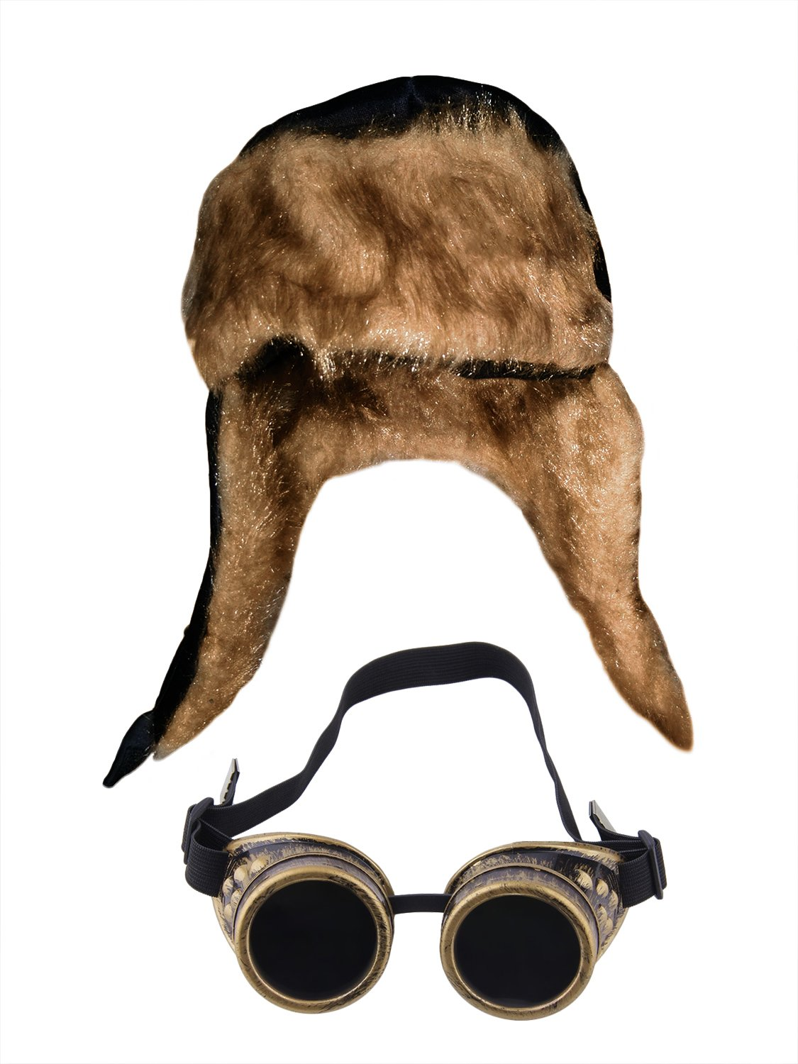 Aviator Soft Furry Bomber Hat and Bronze Steampunk Goggles Costume Accessories