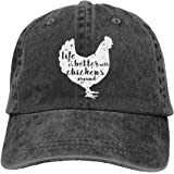 Life is Better with Chickens Around Vintage Adjustable Ponytail Cowboy Cap Gym Caps for Female Women Gifts