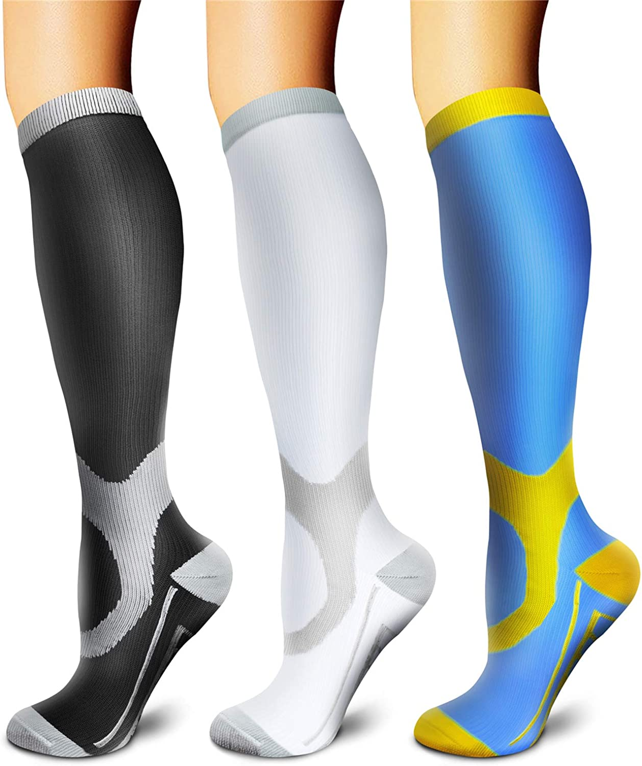 Copper Compression Socks (3 Pairs) 15-20 mmHg Circulation is Best Athletic & Daily for Men & Women, Running, Climbing: Clothing