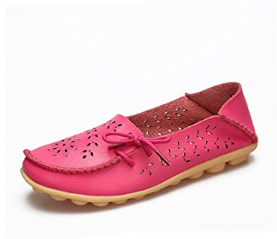 Surprising Day Women's Casual Shoes Genuine Leather Woman Loafers Slip-On Female Flats Moccasins Ladies Driving Shoe Cut-Outs Mother Footwear Red 11