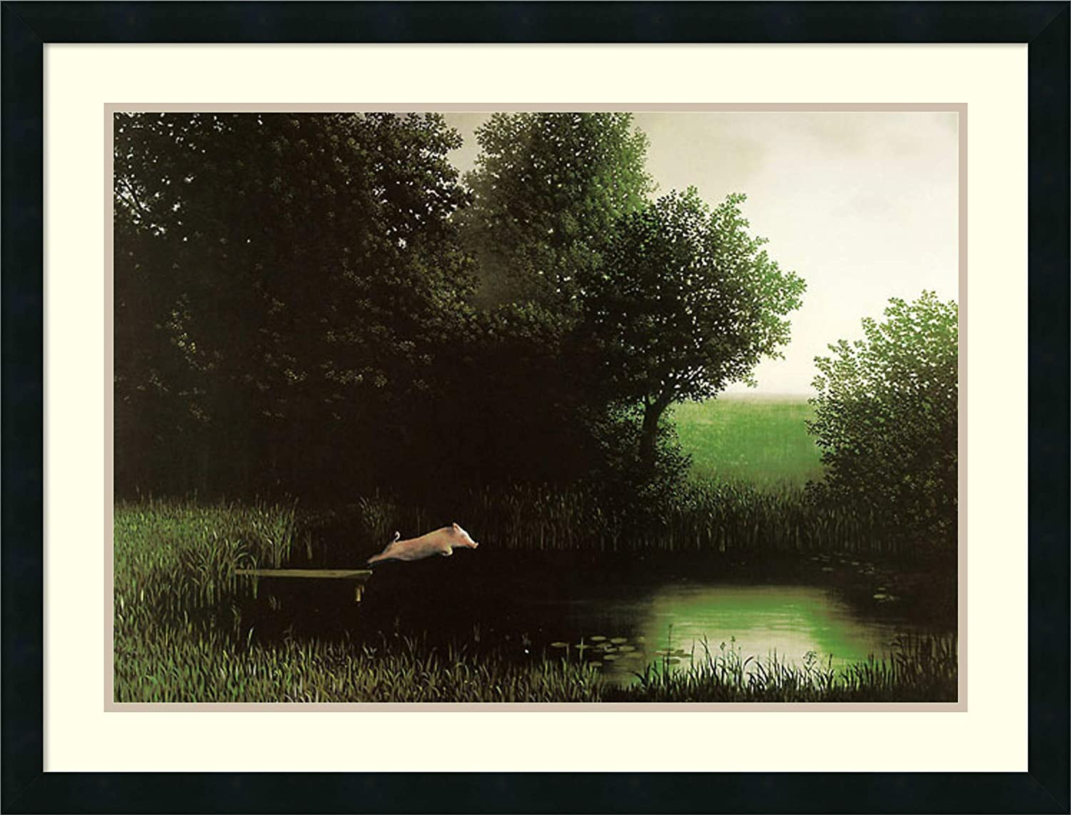 Framed Wall Art Print Diving Pig by Michael Sowa 34.25 x 26.25 in.